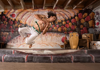 Handsome Capoeira Man Flipping