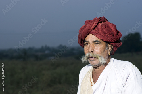 turban, traditional costume, Rajasthan, rural India