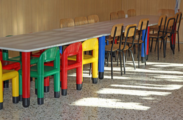 colored small chairs in the nursery canteen for young children