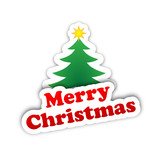 MERRY CHRISTMAS card (sticker happy greetings tree)