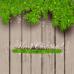 Wooden  texture and Christmas fir tree. Vector Illustration