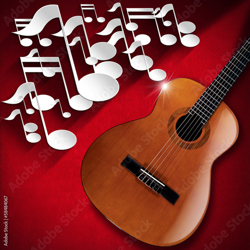 Acoustic Guitar and Note Background - Red Velvet