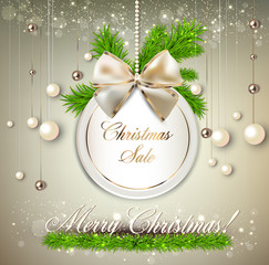"""Paper round holiday label """" Christmas sale"""". Vector template"""