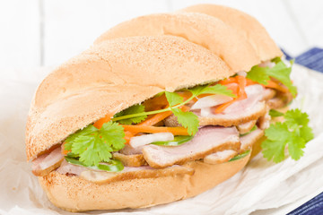 Banh Mi - Crusty bread filled with smoked duck breast slices