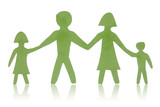 Green paper family isolated