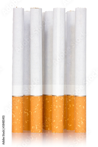 Cigarette sticks on white background