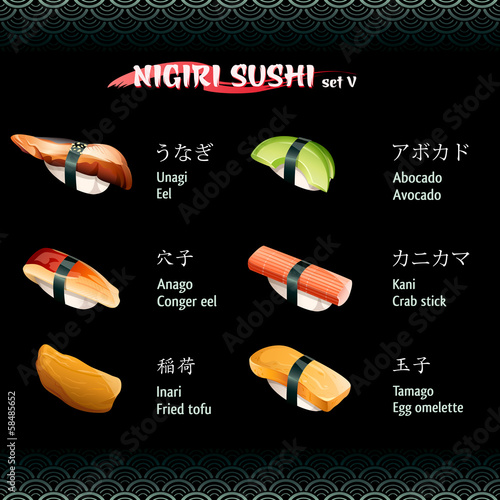 Nigiri sushi with eels, avocado, crab stick, fried tofu and egg