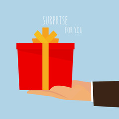 A gift box for you - a hand holding.