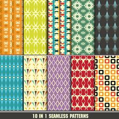 set of retro seamless pattern for making wallpaper