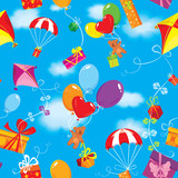 Seamless pattern with colorful gift boxes, presents, balloons, k