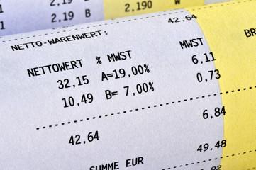 Mehrwertsteuer, Steuersatz, 19 %, 7 %, Netto, Brutto, Rechnung