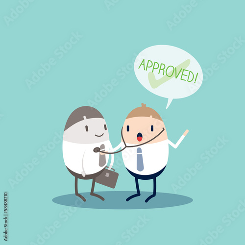 Approved Quality Control Business cartoon illustration
