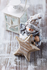 Christmas decoration on white painted wood