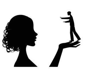 silhouette femminile che ha un uomo nelle sue mani