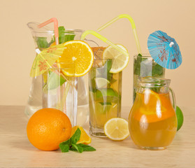 Different citrus drinks