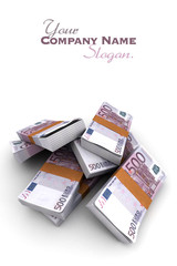 500 Euros stacks