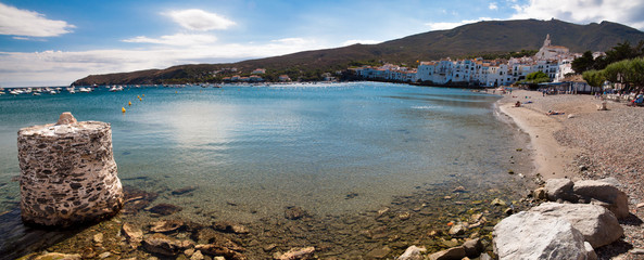 Panoramic view of Cadaques bay beach and town