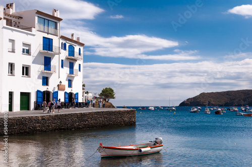 Cadaques seaside buildings and docked boats