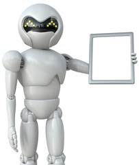 Three-dimensional image of a robot hand pointing to the tablet c