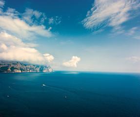 Sea Landscape with Rocky Shore. Copy Space.