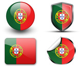 Portugal flag button sticker and badge