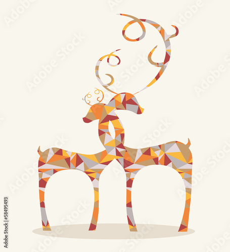 Poster Geometrische dieren merry christmas abstract deers