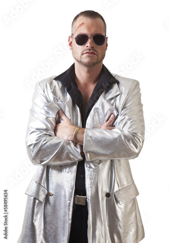 man with laceration and sunglasses