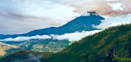 Hermosa Valley with Eruption of a volcano Tungurahua and town Ba
