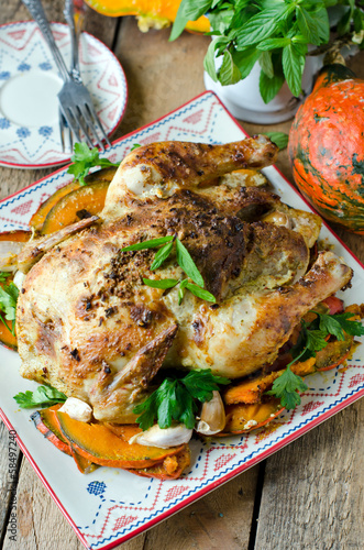 Baked chicken with pumpkin