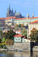 Autumn Prague gothic Castle above River Vltava, Czech Republic