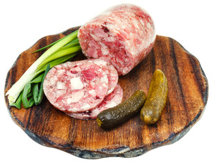 head cheese and pickled cucumbers