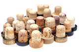 many used corks from alcoholic spirits poster