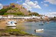 Leinwandbild Motiv Gorey and Mont Orgueil Castle in Jersey