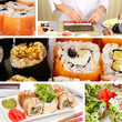 Tasty sushi collage
