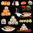Tasty sushi collage on black background
