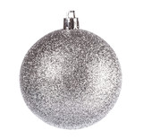 Fototapety Silver dull christmas ball on white background