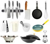 Kitchen tools collection isolated on white