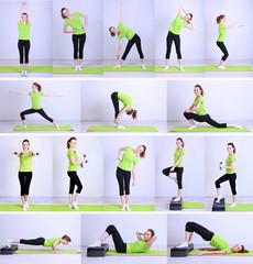 Collage of different fitness exercises