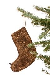 Christmas Stocking Ornament Hanging from a Tree