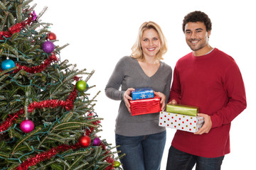 Christmas couple with presents