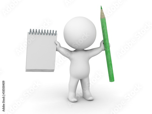 3D Man with notepad and pencil