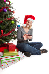 Woman Christmas shopping online