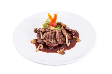Hot Meat Dishes-Fillet of beef with mushrooms