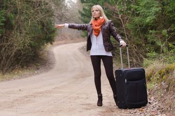 Pretty girl hitchhiking