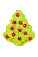 Iced Christmas tree cookie isolated on white