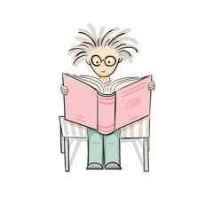 Vector cartoon reading kid