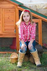 breeder hens kid girl rancher farmer sitting in chicken tractor