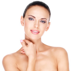 beautiful young smiling woman with healthy fresh skin of the fa