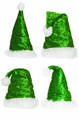 Sammlung von Weihnachtsmannmützen - grün