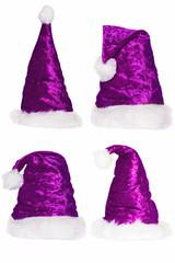 Sammlung von vier Weihnachtsmannmützen - lila